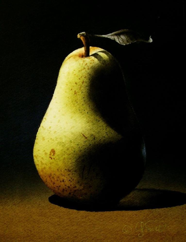 """""""Pear 3"""" original fine art by Jacqueline Gnott, whs"""