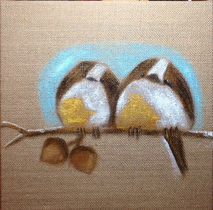 """KEEP ME WARM MY LITTLE CHICKADEE"" original fine art by Charlotte Bankhead Hedrick"