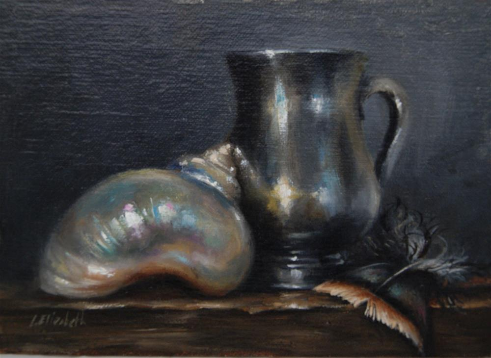 """Still Life with White Sea Shell, Silver Cup, and Turkey Feather,  Oil on 5x7 Linen Panel"" original fine art by Carolina Elizabeth"