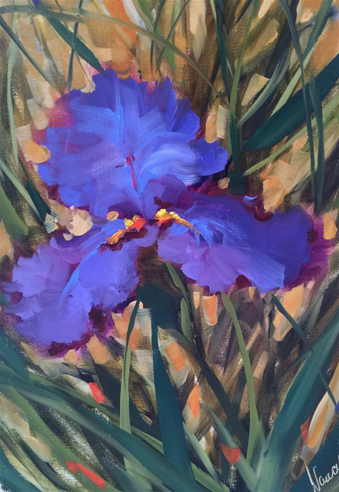 """Don't Be Blue Iris and a Tennessee Workshop"" original fine art by Nancy Medina"