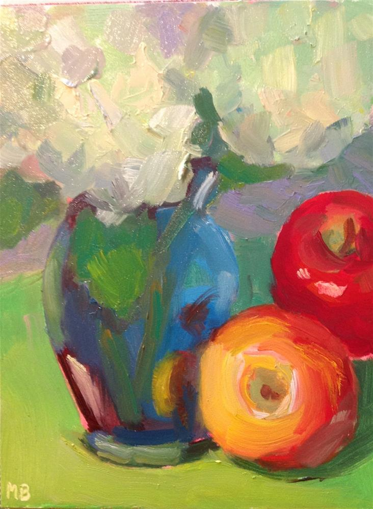 """Apples and Hydrangeas"" original fine art by Marcia Bergtholdt"