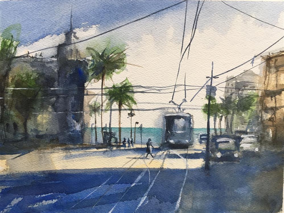 """LAST TRAM STOP ON THE BEACH"" original fine art by Ferran Llagostera"
