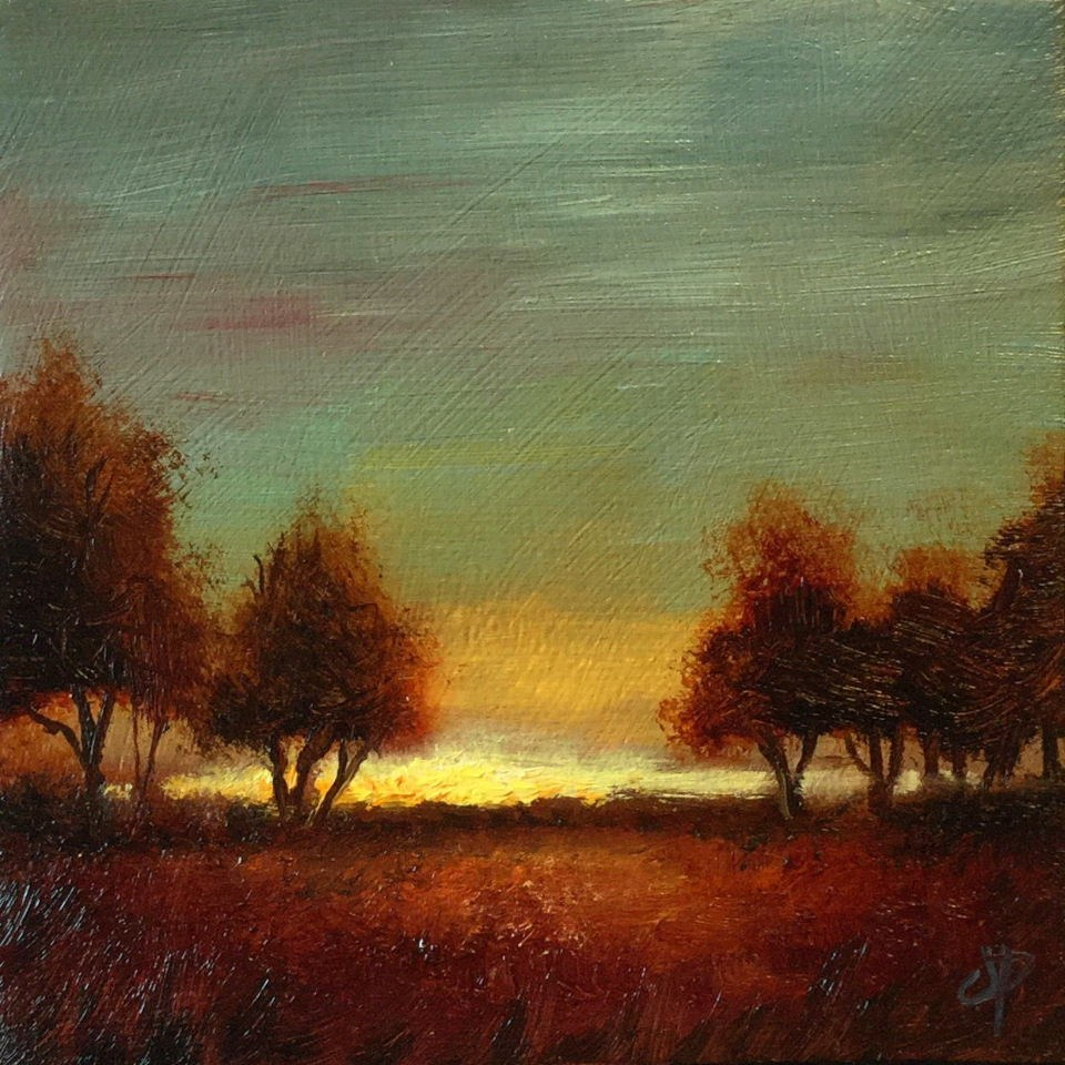 """Autumn sunset trees"" original fine art by Jane Palmer"