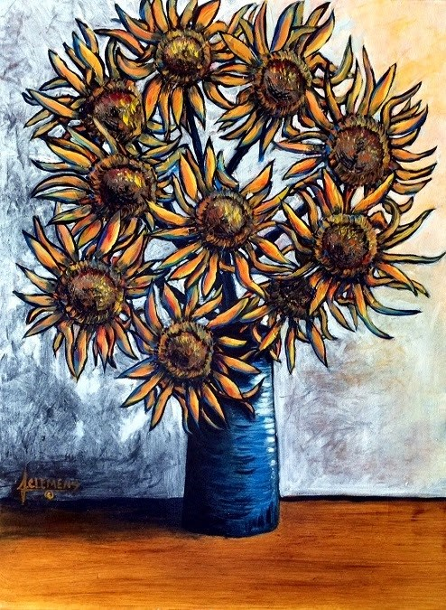 """Blue vase Sunflowers"" original fine art by Jolynn Clemens"