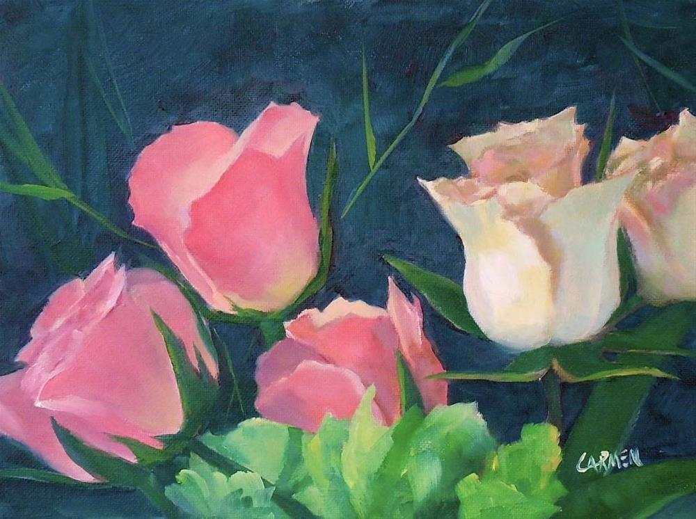 """Carol's Roses, 6x8 Floral Oil Painting,  Pink and White Roses"" original fine art by Carmen Beecher"