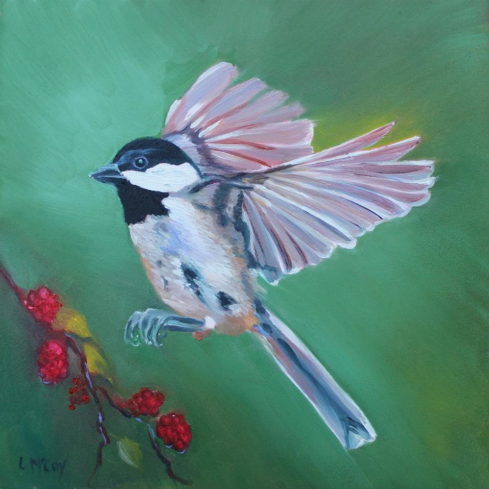 """Chickadee in Flight With Berries, by Linda McCoy"" original fine art by Linda McCoy"