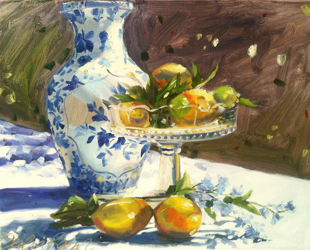 """SUMMER LEMONS"" original fine art by Cecilia Rosslee"