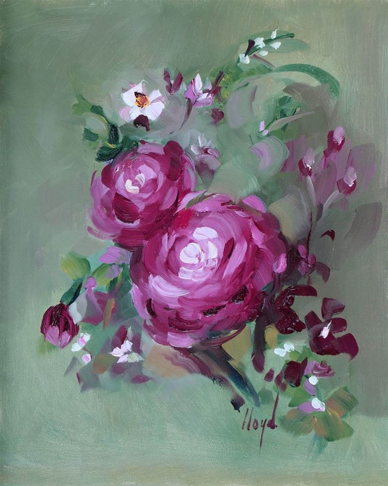 """Two Roses"" original fine art by Diane Lloyd"