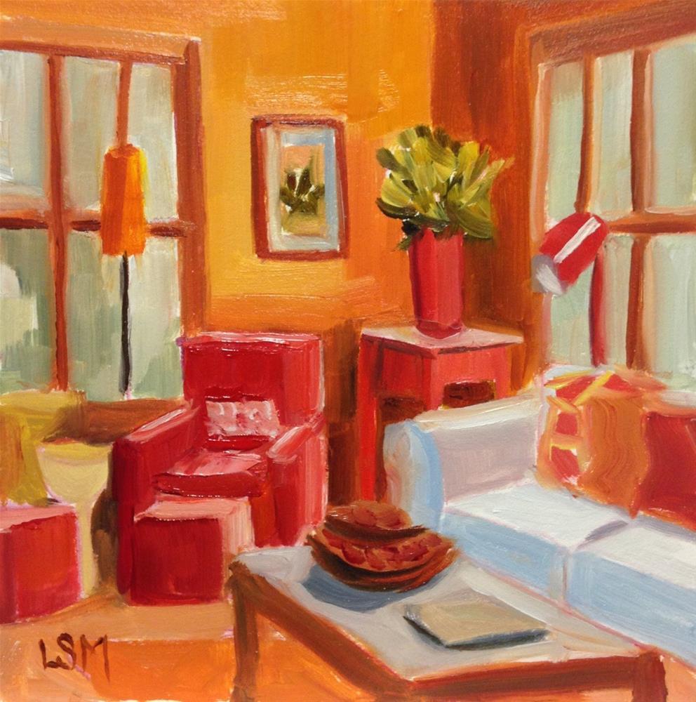 """Orange Glow Living Room"" original fine art by Linda Marino"