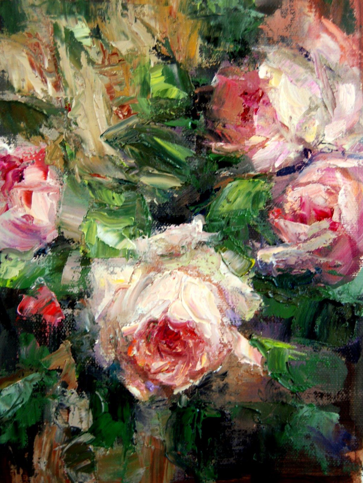 """""""Palette Knife Roses"""" original fine art by Julie Ford Oliver"""