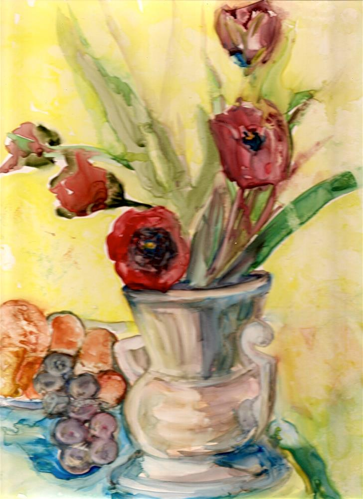 """9x12 Tulips on Yupo Paper Watercolor Impressionistic Style by Penny StewArt"" original fine art by Penny Lee StewArt"