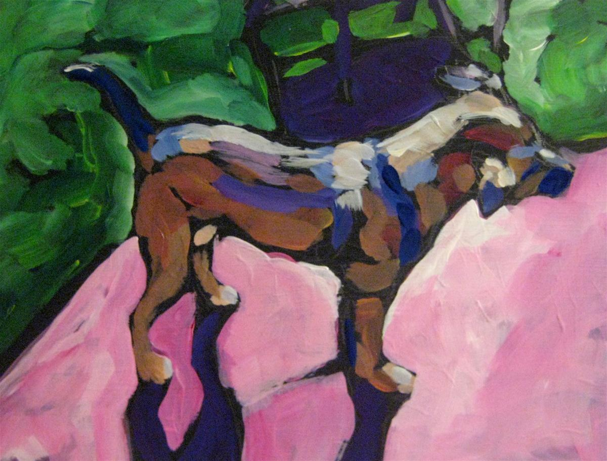 """Small Dog on Pink Rug"" original fine art by Kat Corrigan"