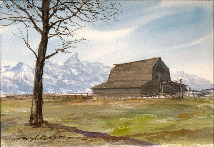 """Teton Barn"" original fine art by Rafael DeSoto Jr."