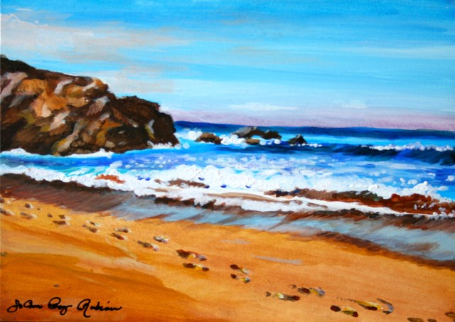 """Footprints in the Sand"" original fine art by JoAnne Perez Robinson"