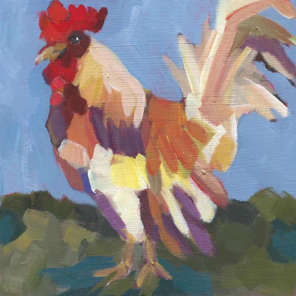 """Don't Chicken Out (#454)"" original fine art by Debbie Miller"