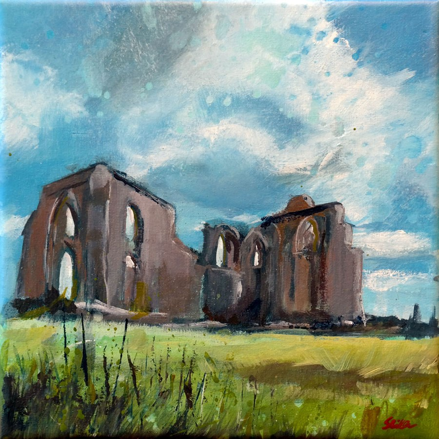 """1343 Ruined Monastery on the Île de Ré"" original fine art by Dietmar Stiller"