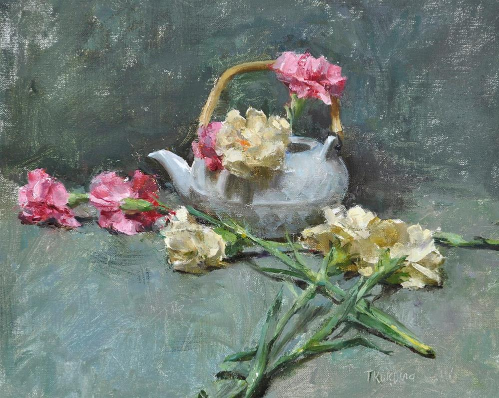 """still life with carnations"" original fine art by Taisia Kuklina"