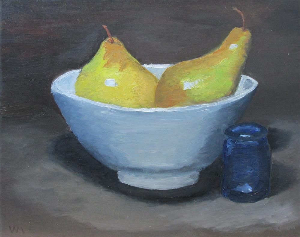 """Pears and Blue Jar"" original fine art by Will Dargie"