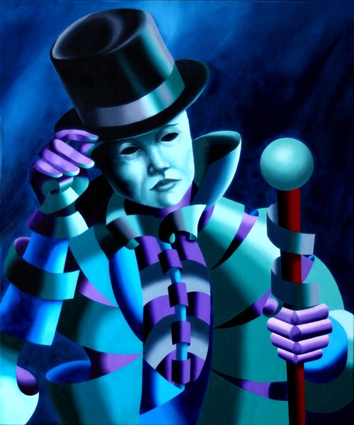 """Mark Adam Webster - Mask of the Magician - Abstract Geometric Futurist Figurative Oil Painting"" original fine art by Mark Webster"