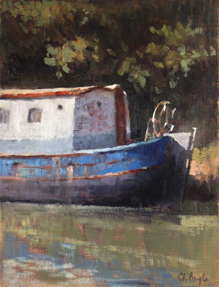 """Blue canal boat"" original fine art by Christine Bayle"