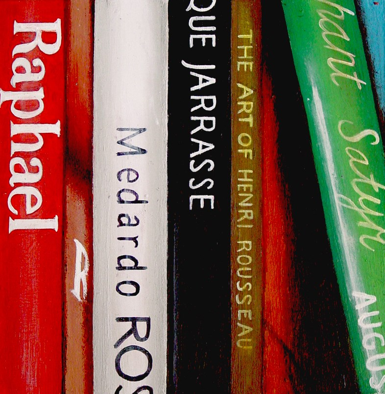 """""""Raphael- Still Life Painting Of Books On Raphael And Others"""" original fine art by Gerard Boersma"""