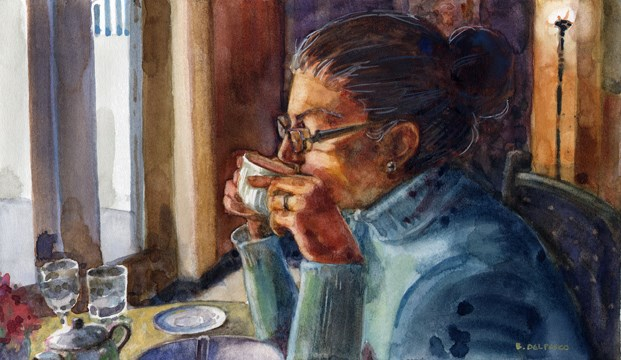 """Watercolor: First Sip (& #linklove)"" original fine art by Belinda Del Pesco"