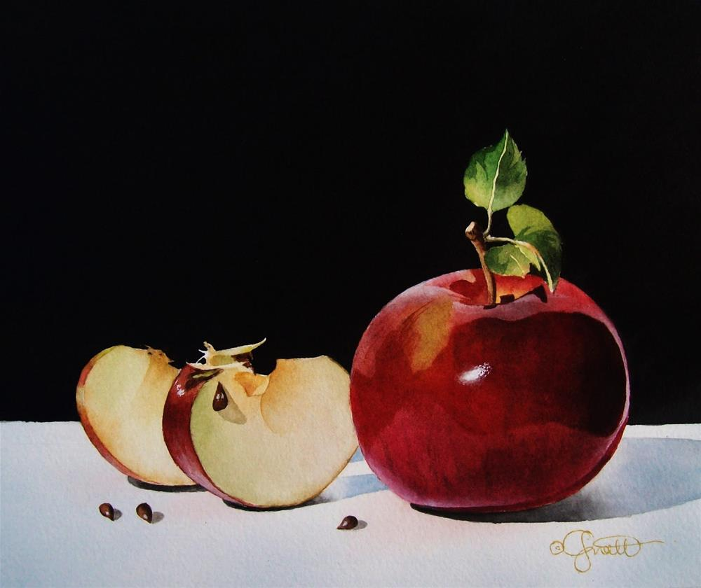"""Apple Slices"" original fine art by Jacqueline Gnott, whs"