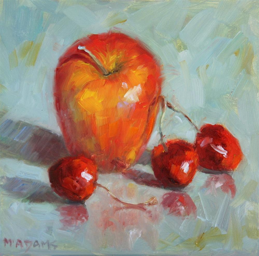 """Apple with cherries"" original fine art by Phyllis McAdams"