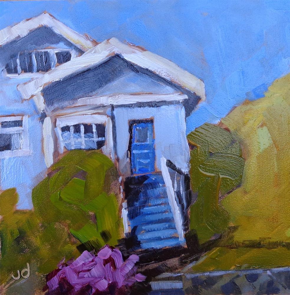 """Little blue house"" original fine art by Jean Delaney"