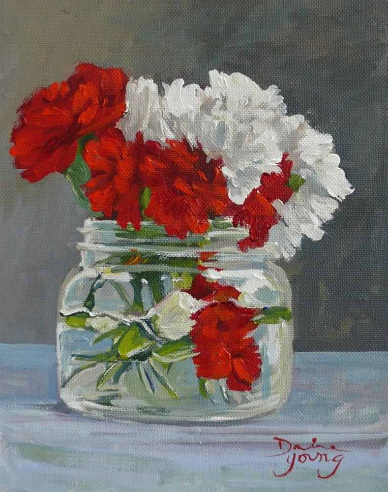 """874 Red and White Carnations in a Mason Jar, oil on board, 8x10"" original fine art by Darlene Young"