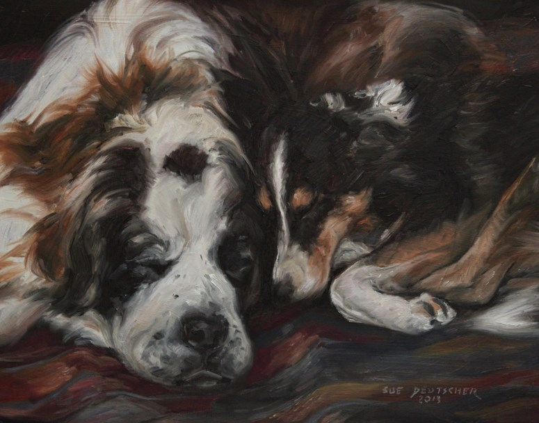 """St. Bernard and Friend"" original fine art by Sue Deutscher"