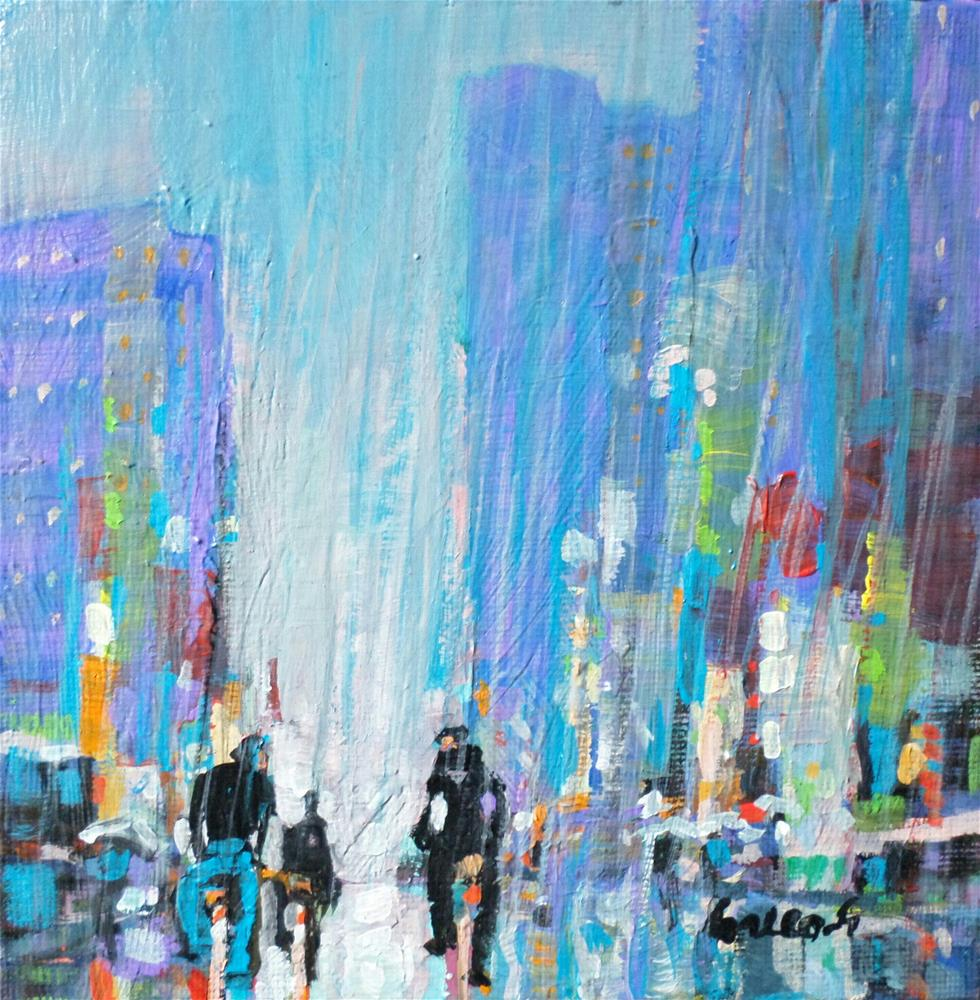 """bike in the rain"" original fine art by salvatore greco"