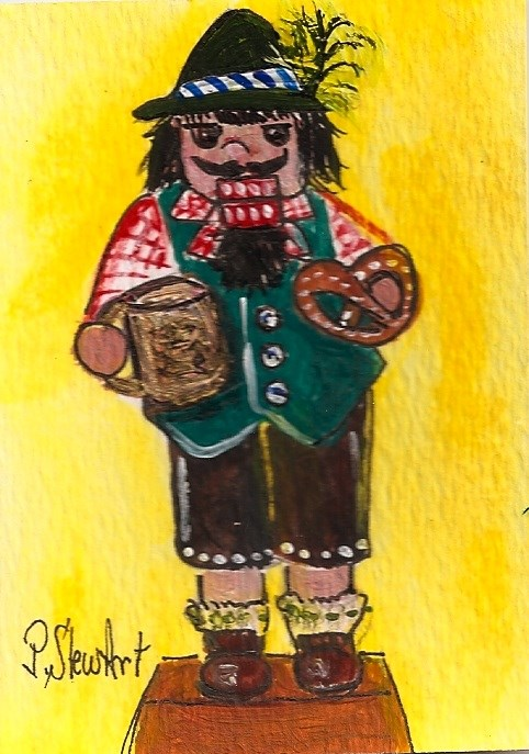 """ACEO Nutcracker Painting Bavarian Beer Pretzel German Man Penny StewArt"" original fine art by Penny Lee StewArt"