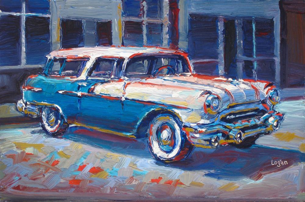 """1956 Pontiac Safari"" original fine art by Raymond Logan"