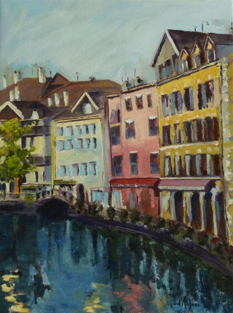 """Annecy on the Water"" original fine art by Karen D'angeac Mihm"