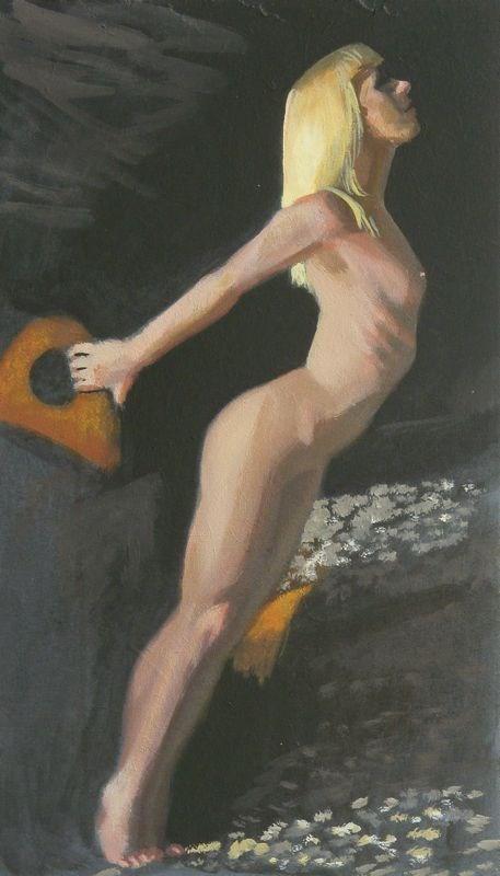 """Nude in sea cave"" original fine art by Peter Orrock"