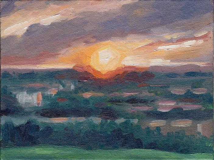 """Sunset Over Hitchin"" original fine art by J M Needham"