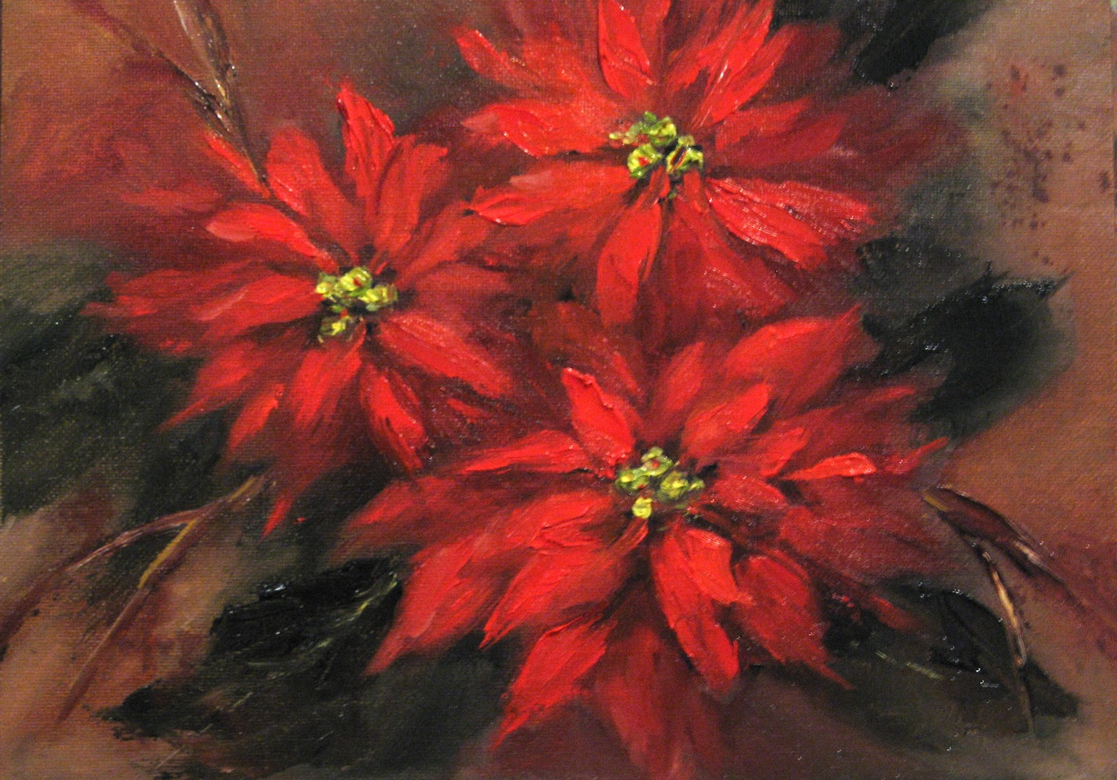 """Flower Study #48- Poinsettias"" original fine art by Pat Fiorello"