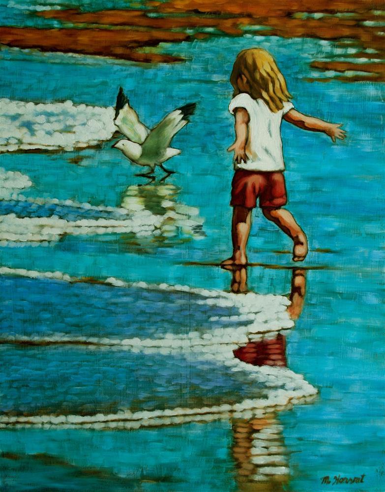 """Chasing Gulls"" original fine art by Margaret Horvat"