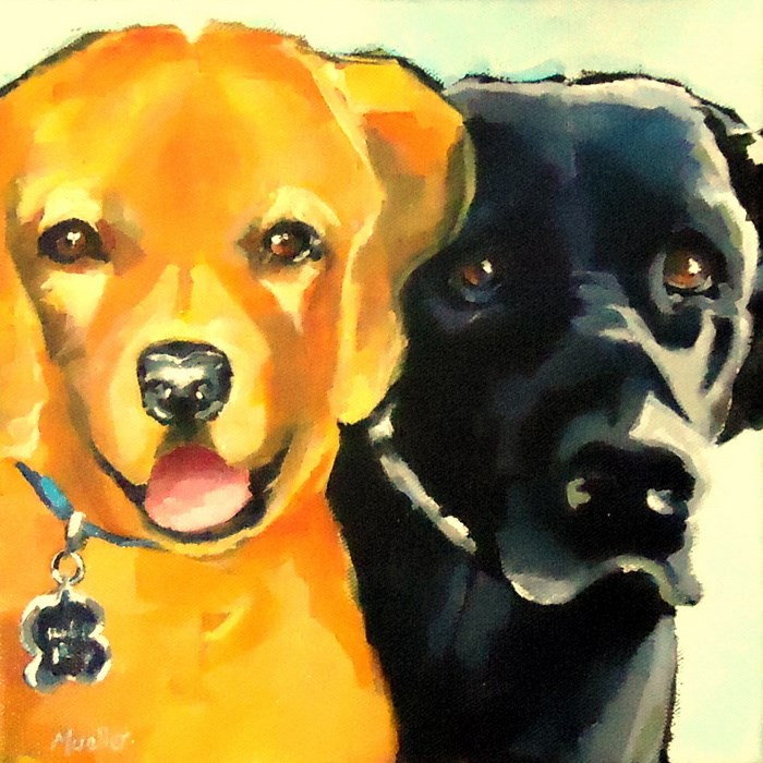 """Red and Cisco (and eternal love)"" original fine art by Laurie Mueller"