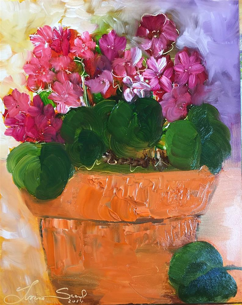"""Pink and Red Geranium "" original fine art by Yvonne Snead"