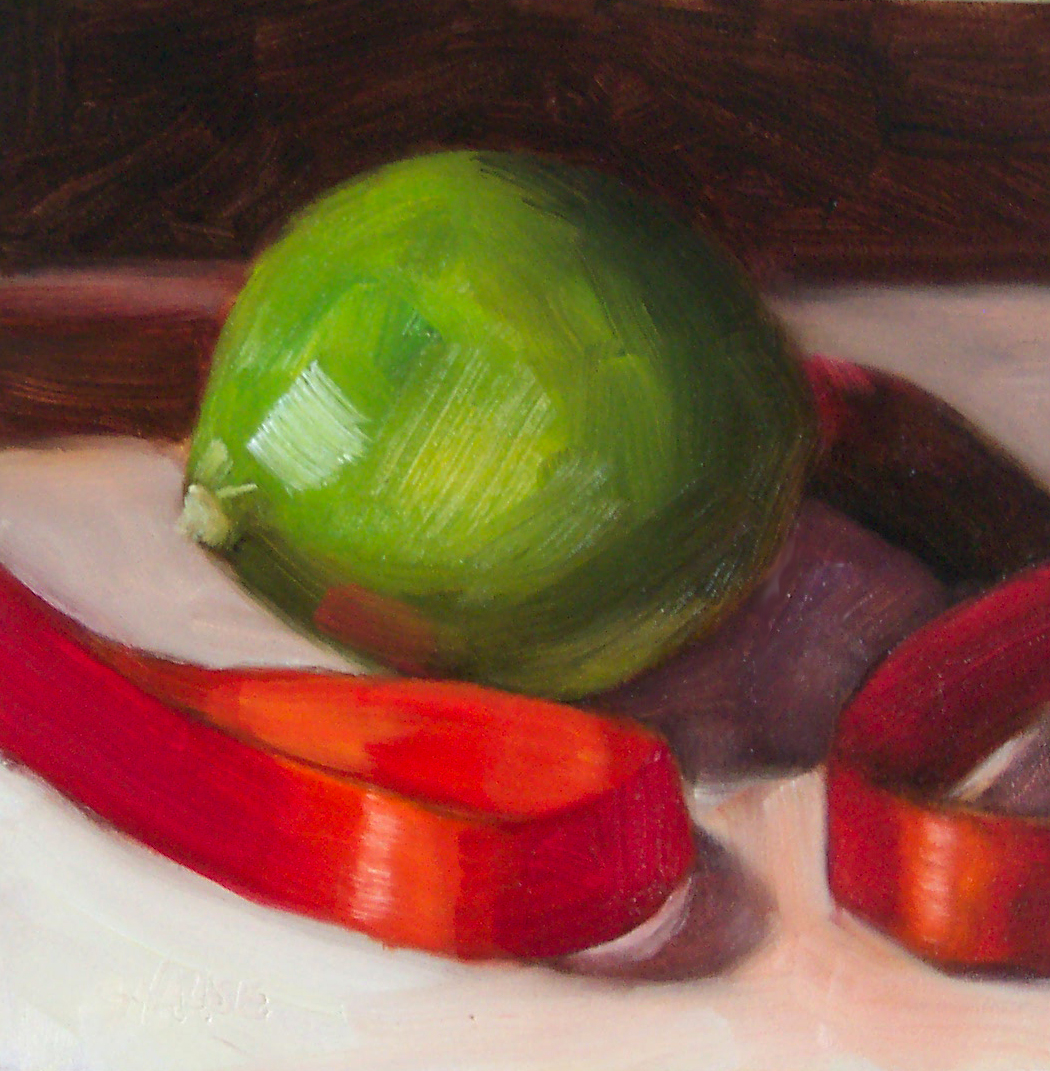 """Lime and Red Ribbon"" original fine art by Cindy Haase"