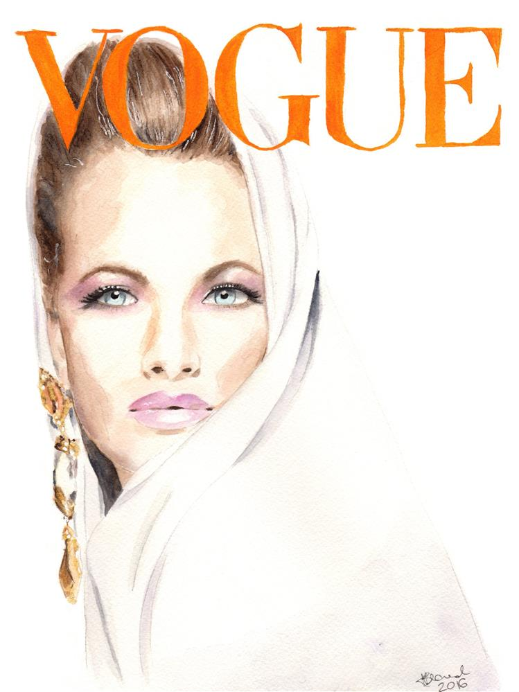 """Vogue Magazine Cover. Karen Mulder"" original fine art by Kasia Blanchard"