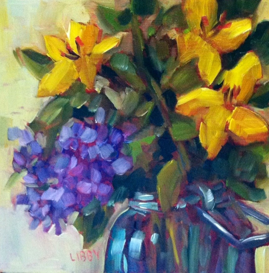 """Yellow and Purple"" original fine art by Libby Anderson"