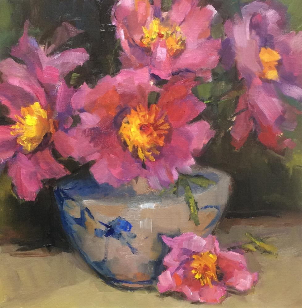"""Beautiful Peonies in all their Splendor"" original fine art by Laurie Johnson Lepkowska"