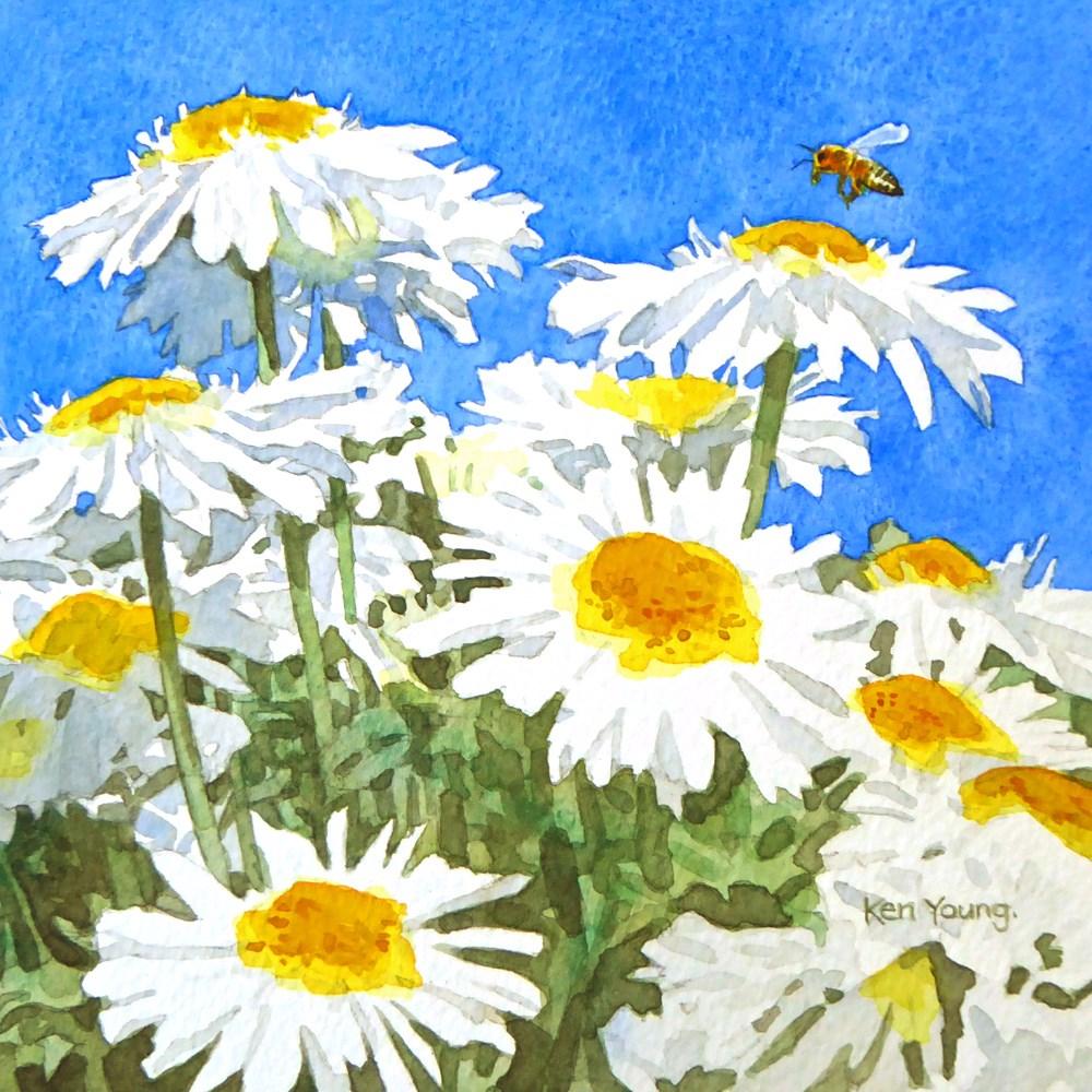 """""""Summer Daisies"""" original fine art by Ken Young"""