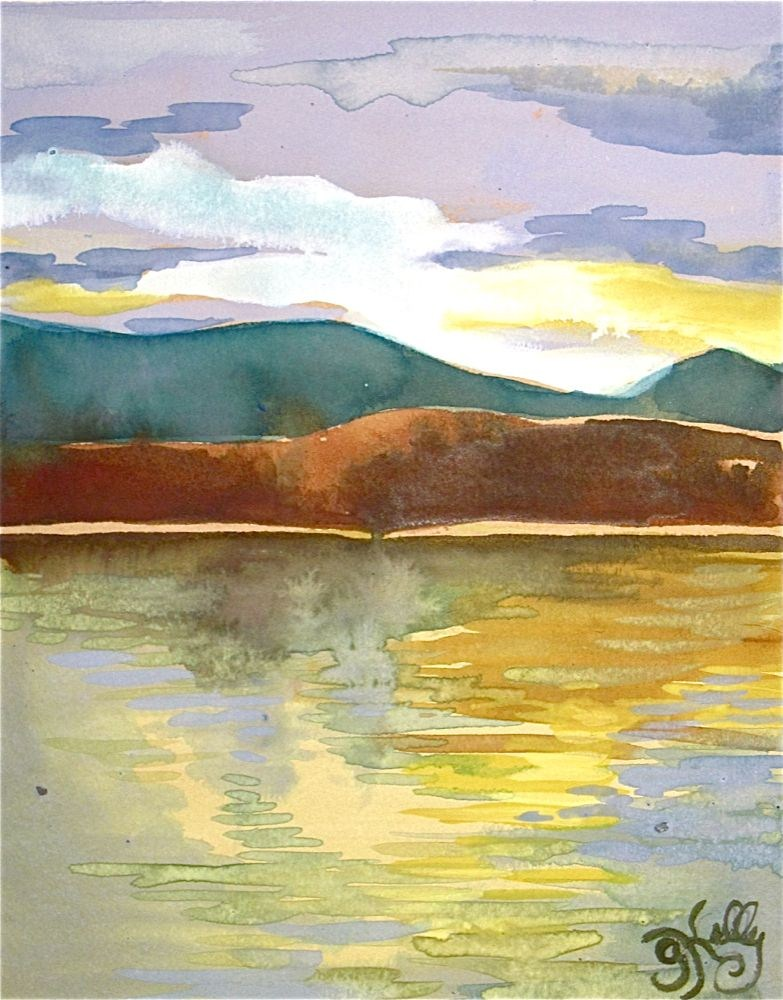 """Catskill Mountains Clouds over the Hudson River by Gretchen Kelly, New York Artist"" original fine art by Gretchen Kelly"