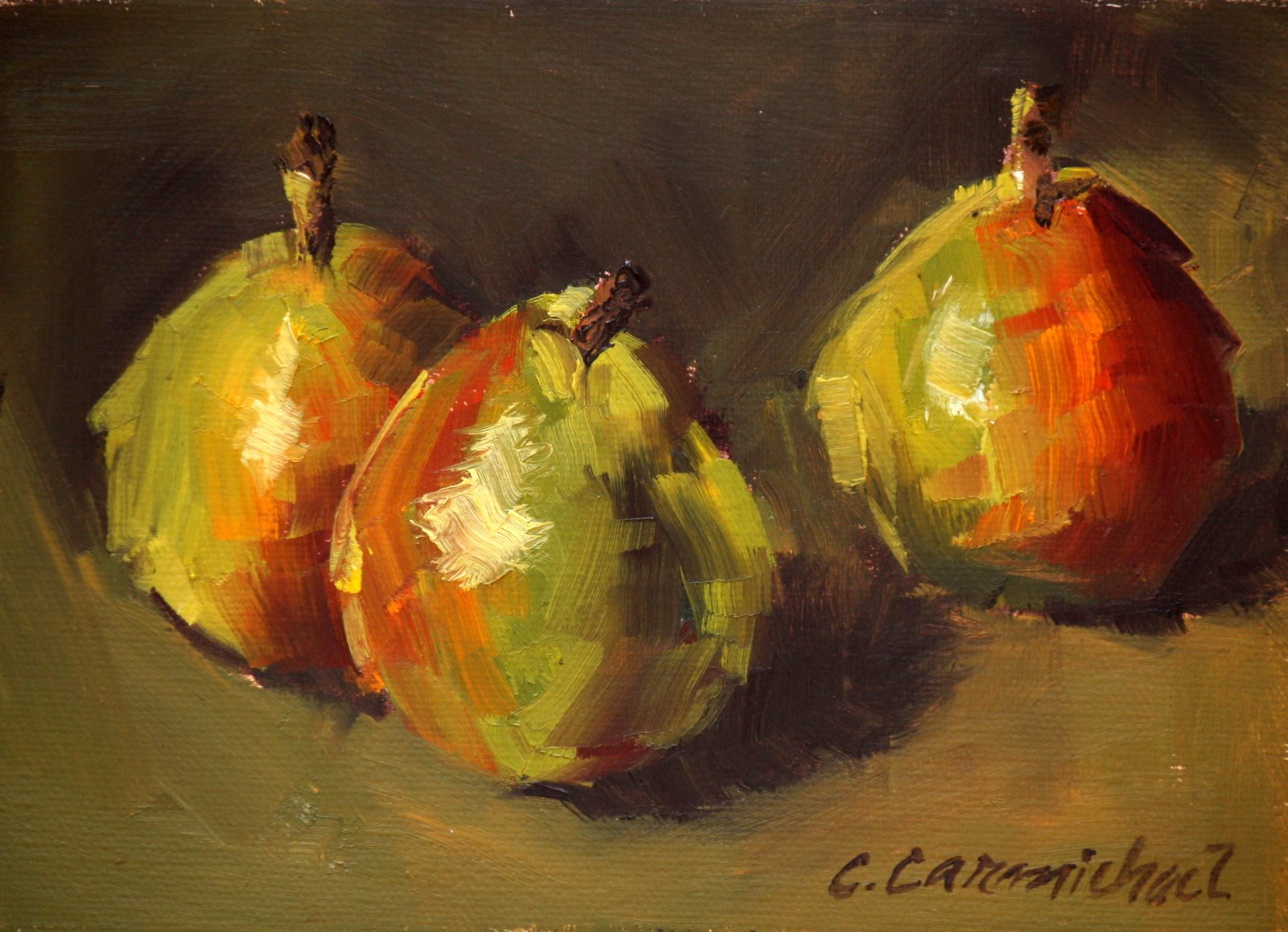 """Trio of Pears"" original fine art by Carol Carmichael"