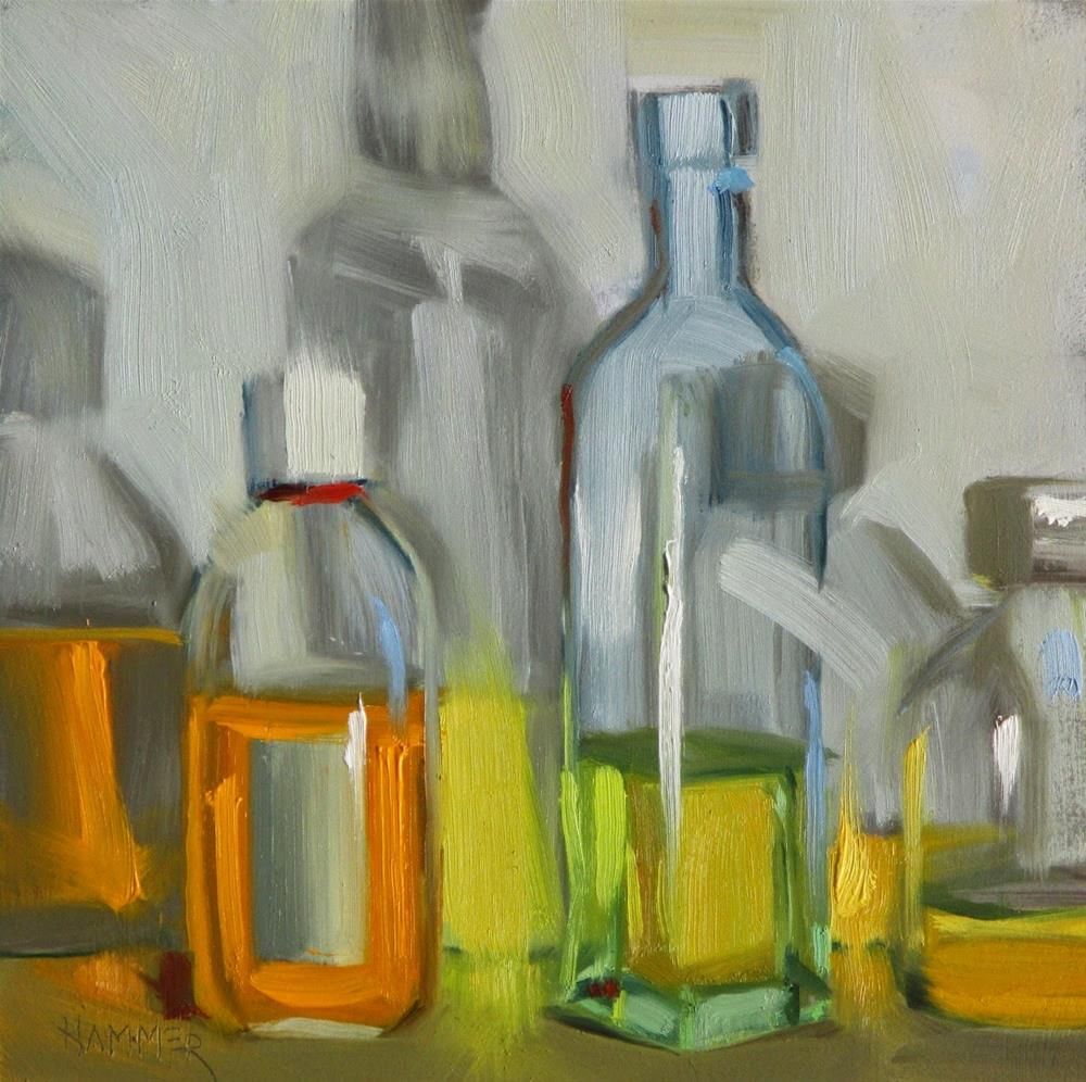 """Three bottles of oil  6in x 6in  oil"" original fine art by Claudia Hammer"