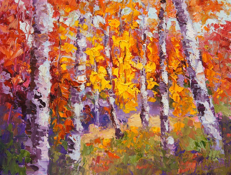 """Autumn Sunlight Palette knife painting"" original fine art by Marion Hedger"